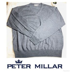 Peter Millar XL Pull Over Knit V Neck Sweater Gray